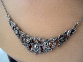 1930's Sterling Silver and Marcasite Floral Necklace (SOLD)
